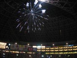 勝利の花火と屋根オープン。最高っ